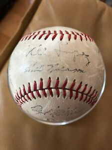 1956-Cleveland-Indians-Team-Stamp-Signed-Baseball-Lemom-Wynn-Feller-Lopez-Score