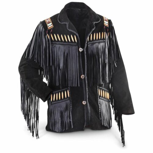 Style Bones Beads amp; Fringe Mens Jacket Cowboy Western Wear Leather Coat Suede qwRSY7