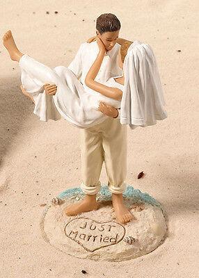 Slim Cake Topper Matrimonio Tema Mare Sposini Capelli Biondi Torta Nuziale Sposi