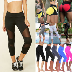 Women-Ladies-Capri-Cropped-Leggings-Yoga-Pants-Gym-Fitness-Workout-Wear-Trousers