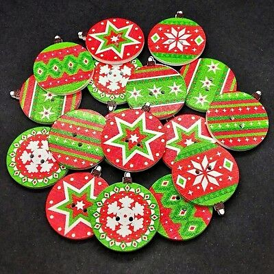 XMAS WOODEN BAUBLE BUTTONS // EMBELLISHMENTS TREE UK CHRISTMAS CRAFT 25MM