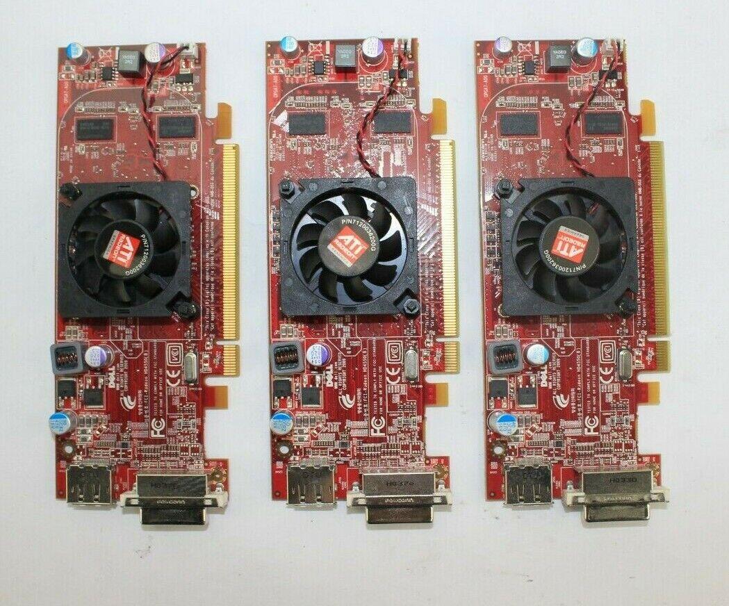 Lot of 3 Dell ATI Radeon HD 4550 GDDR3 PCIe x16 DP/DVI Video Card C7MG0