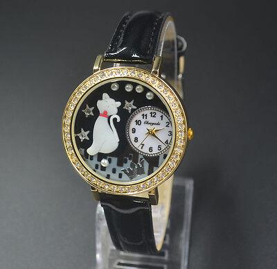 Chaoyada Woman Girl Fimo Polymer clay crystal cute cat style Bracelet watch