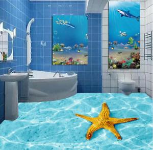 3D golden Starfish 66 Floor WallPaper Murals Wall Print 5D AJ WALLPAPER UK Lemon