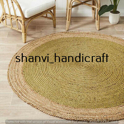 Rag Rug Bohemian Braided Round 3 Feet Outdoor /& Indoor Jute Rug Area Rugs Carpet