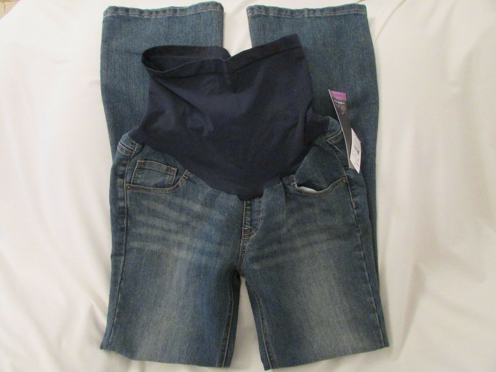 Ladies  Oh Baby  Size L, bluee, bluee Belly Panel. Distressed, Boot Cut, Jeans