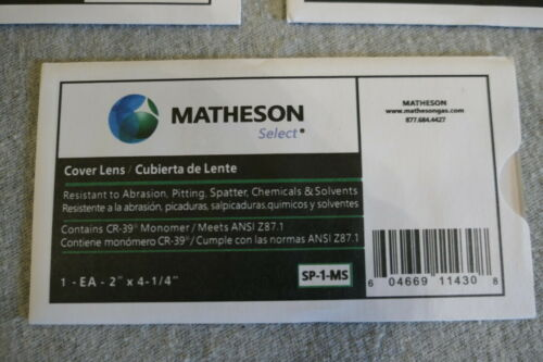 "Lot Of 5 Matheson 4.5/"" X 2/"" Welding Helmet Cover Lens SP-1-MS CR-39 Monomer"