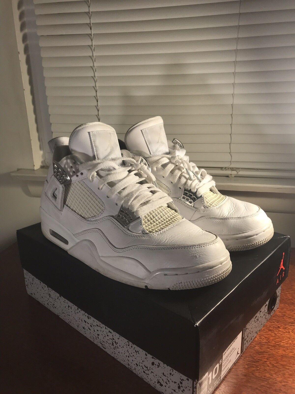 Nike air jordan 4 iv iv iv retro - weiße / metallischen silber 308497 100 sz 10,5 pures geld 3d1f59