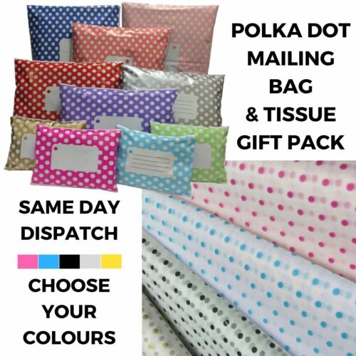 Polythene Post Gift Wrapping Kit Polka Dot Tissue Paper /& Mailing Bag Mix Pack