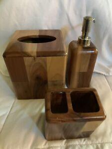 3 PC SET WOOD SOAP DISPENSER,TOOTHBRUSH HL,tissue Holder Jennings Croscill