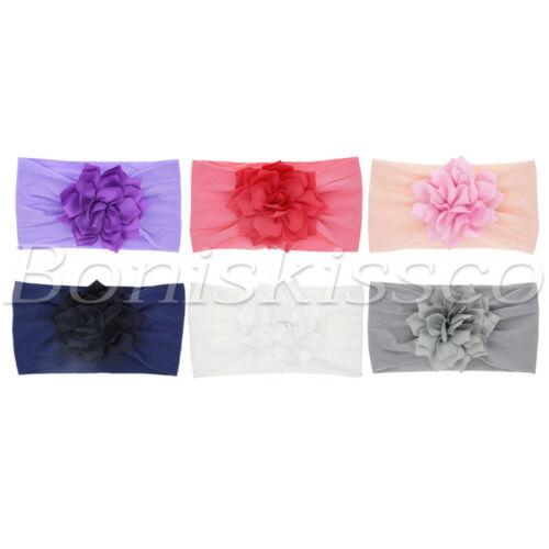 6pcs Newborn Baby Girl Headbands Toddlers Hats Lotus Flower Soft Nylon Headwraps