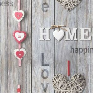 Fine Decor Wallpaper Love Your Home Wood Panels Red Hearts