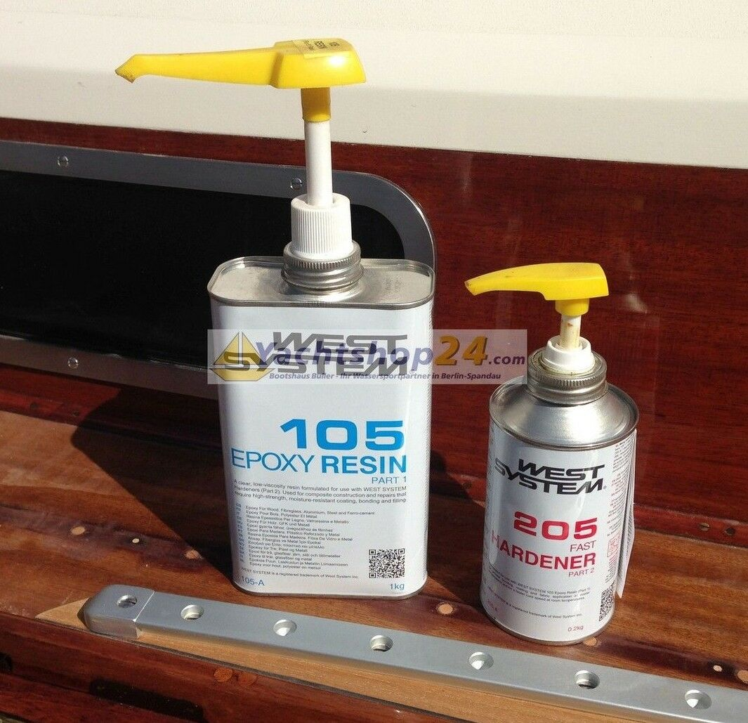 West-System 105-205 A-Pack Epoxy Resin + Bomba 301a-1,2kg Ep-Harz Set Completo