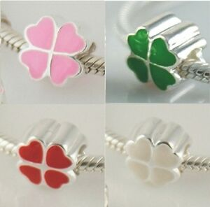 FOUR-4-LEAF-CLOVER-Luck-Solid-925-sterling-silver-European-charm-bead-Enamel