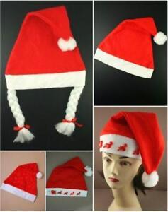 1 Soft Feutre Noël Santa Chapeau 4 Designs Plain Tressé Clignotant Brillant Flocon De Neige ChronoméTrage Ponctuel