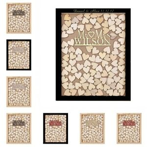 Personalized Engraved Mr & Mrs Heart Drop Top Wood Wedding Guest ...