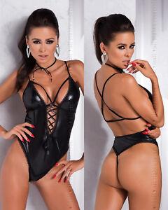 Body string sexy noir wetlook effet mouillé lacets dos nu femme ... 4a8511d6ba1