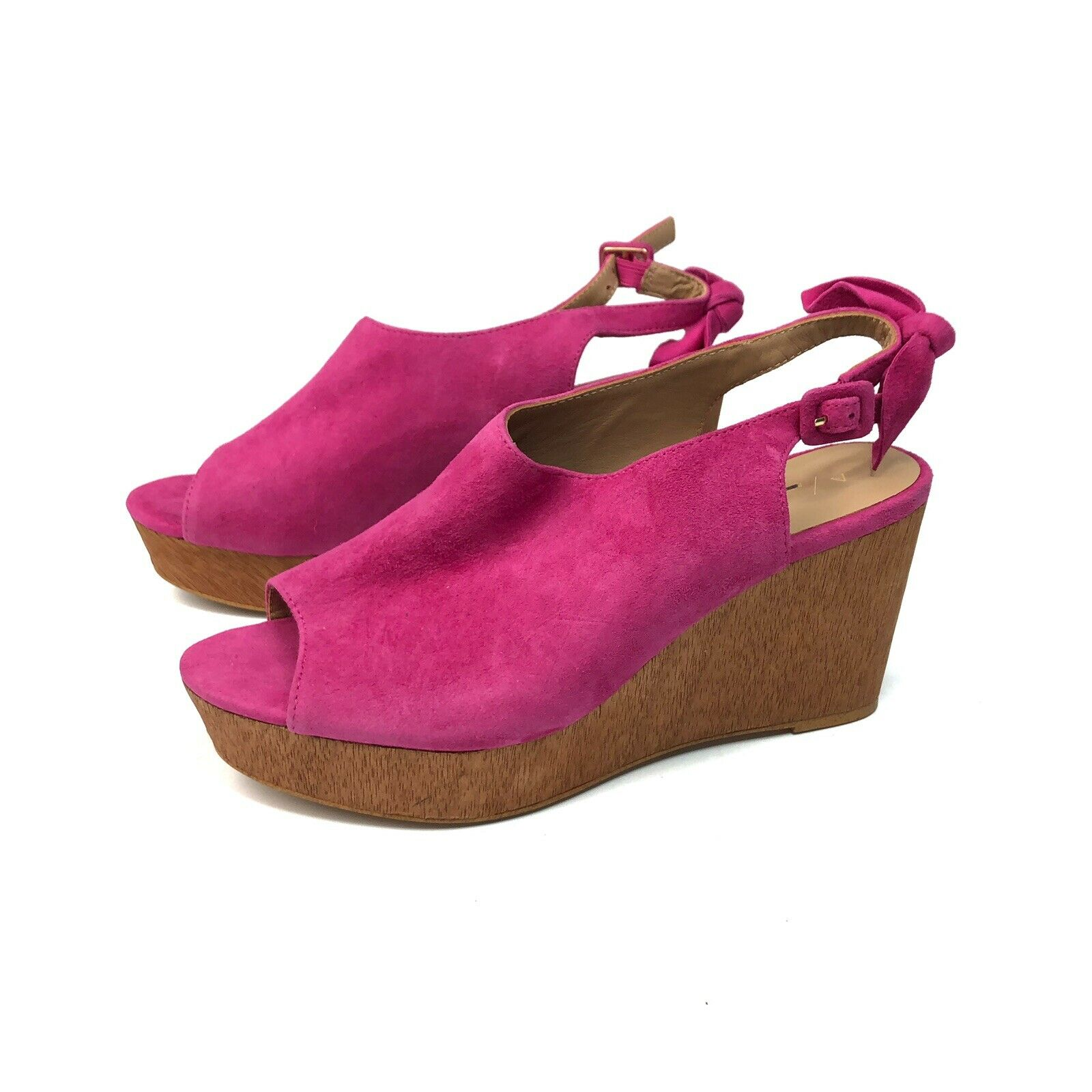 Anthropologie Pink Suede Bow Slingback Platform Wooden Heels shoes Size 9.5