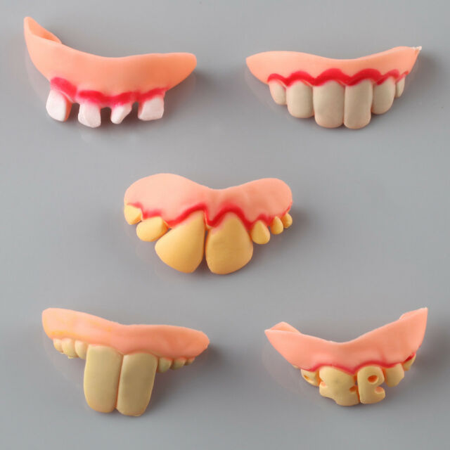 5pcs Funny Gift Ugly Gag Fake Teeth for Costume Halloween Party