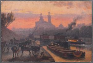 "Actif William Baptiste Baird : Huile Sur Carton ""on The Seine"" 1914"
