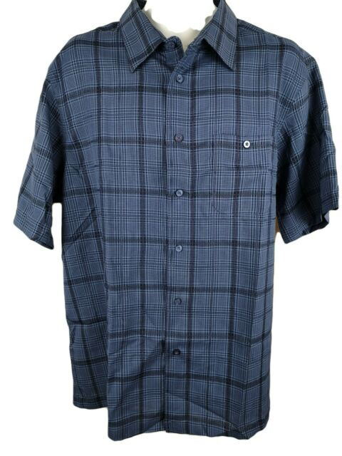 Street Mens Blue Short Sleeve Button Down Casual Shirt Size Extra Large XL