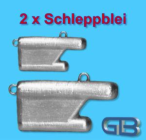 2-x-Schleppblei-mit-Ose-40g-50g-60g-80g-Angelblei-Grundblei-Raubfisch-Blei
