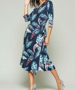 New-Bluheaven-By-Umgee-Wrap-Dress-L-Large-Blue-Feather-Midi-Jersey-3-4-Sleeve