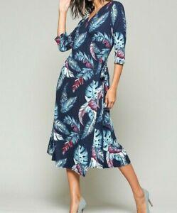 New-Bluheaven-By-Umgee-Wrap-Dress-M-Medium-Blue-Feather-Midi-Jersey-3-4-Sleeve