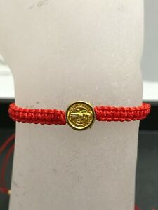 St Benedict San Benito Small Gold Medal Red Cord Macrame Religious Bracelet