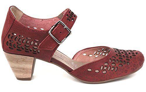 Ancho De Cuero Rojo Zapatos Donatella Donatella Donatella OGS bombas Sandalias De 3E de ancho  barato y de alta calidad