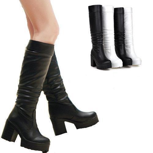 High Heel Cuban Heel Platform Mid Calf Boots Women's Classic Drape Leather shoes