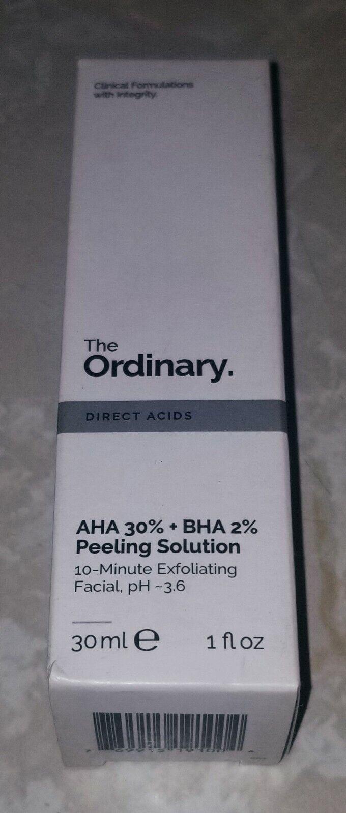 The Ordinary - AHA 30% + BHA 2% Peeling Solution - NIB Authentic 1oz/30ml 2