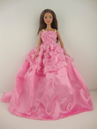 Pretty Pink Dress with Roses on Bodice and Upper Skirt Made to Fit Barbie Doll