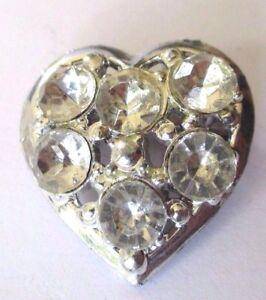Broche Bijou Couleur Argent Coeur Solitaire Cristal Diamant * 1575 Excellente Qualité