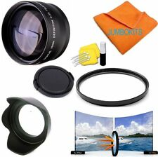 2X TELEPHOTO +UV FILTER+HOOD + CAP FOR Canon EF 50mm f/1.8 STM Lens SHIPS FAST