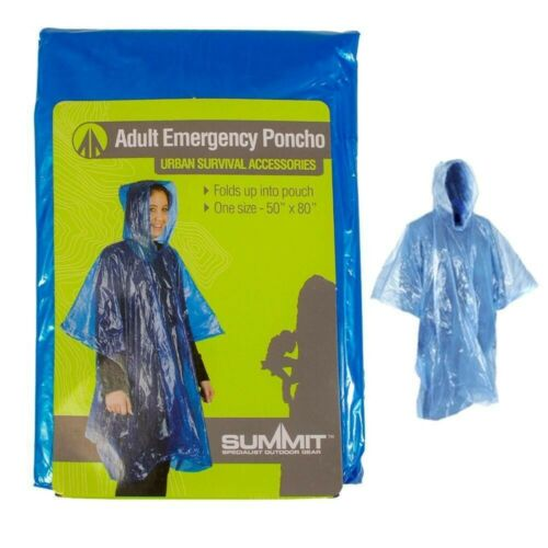 3 x Summit Adult Emergency Waterproof Rain Coat Poncho Hiking Camping Hood