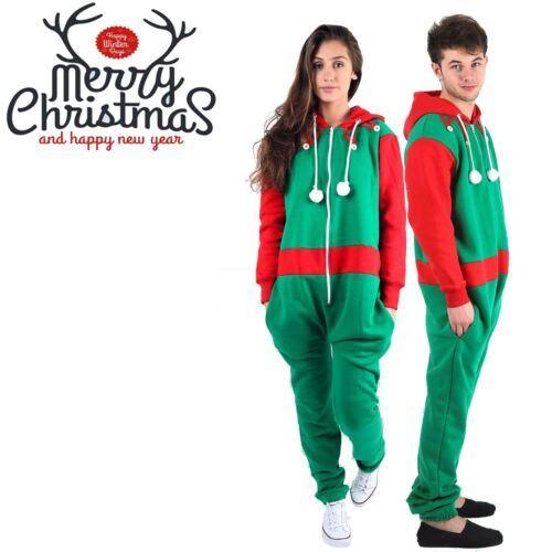 Unisexe Homme Femme Vert Elf Rouge Père Noël Christmas Xmas noveltyall dans une combinaison