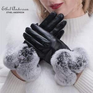 Lady-Real-Leather-Luxury-Gloves-Rex-Rabbit-Fur-Wrist-Full-Finger-Warm-Mittens