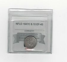 **1947c**, Coin Mart Graded, Newfoundland  Silver 10 Cent, **EF-45**