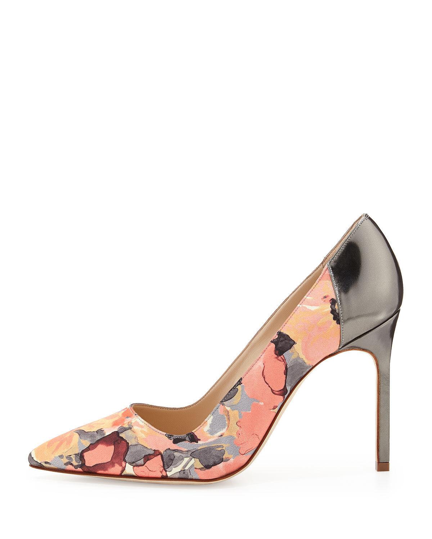 844 Nuova  Manolo Blahnik BB 105 Floral Coral grigio Patent Leather scarpe Pups 39  liquidazione fino al 70%