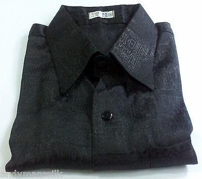 Mens Jacquard Weave Black Thai Silk Shirt  Short - Long Sleeve S-M-L-XL-XXL-XXXL