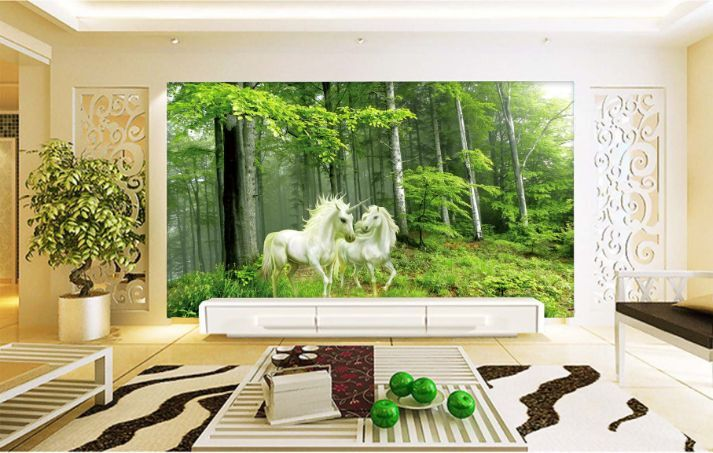 3D Nature Forest Horse Paper Wall Print Decal Wall Wall Murals AJ WALLPAPER GB