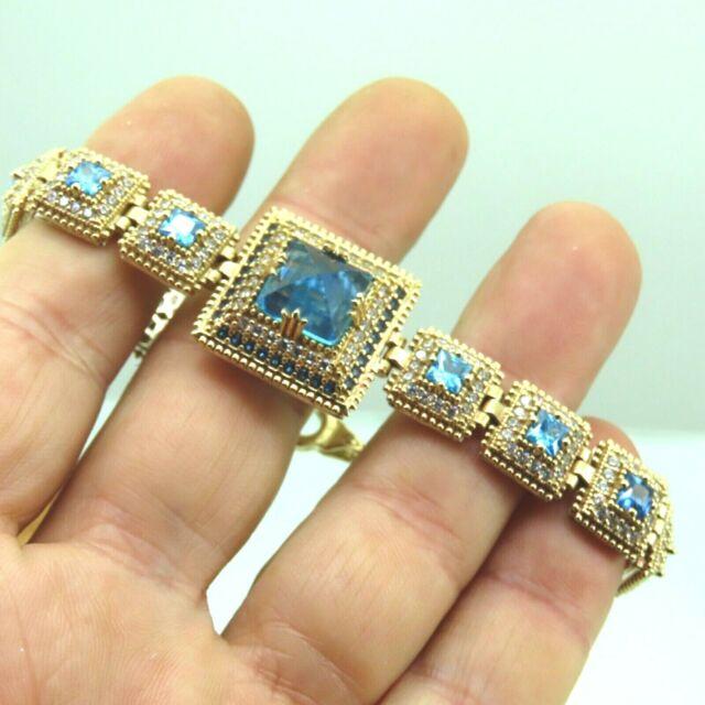 Turkish Handmade Jewelry 925 Sterling Silver Aquamarine Stone Women Bracelet