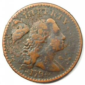 1794 Liberty Cap Large Cent 1C Coin - VF Details (Corrosion) - Rare!