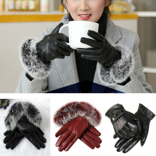 Winter Women Warm Touch Screen Gloves PU Leather Full Finger Mittens Gloves Gift
