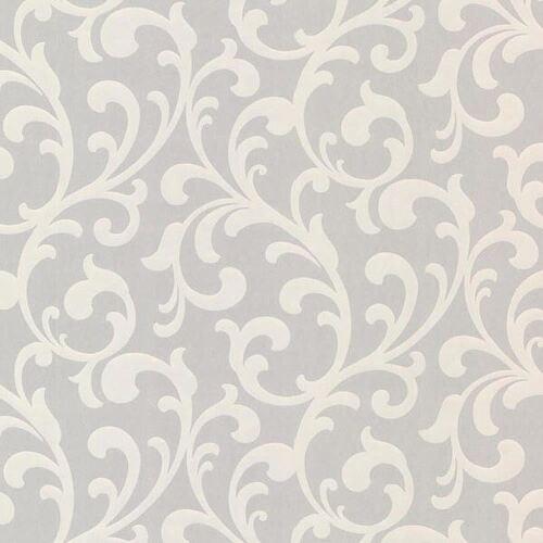 Fine Decor fondo de pantalla retro desplazamiento floral gris claro Nacarado pegue The Wall