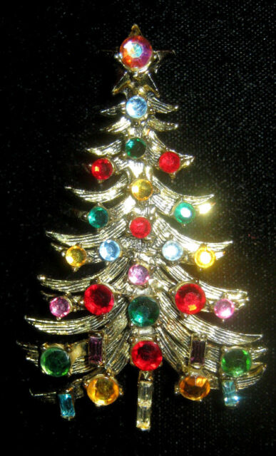 VINTAGE HOLLYCRAFT CHRISTMAS TREE PIN / BROOCH - Vintage HOLLYCRAFT Christmas Tree Brooch Pin - Needs Small Repair