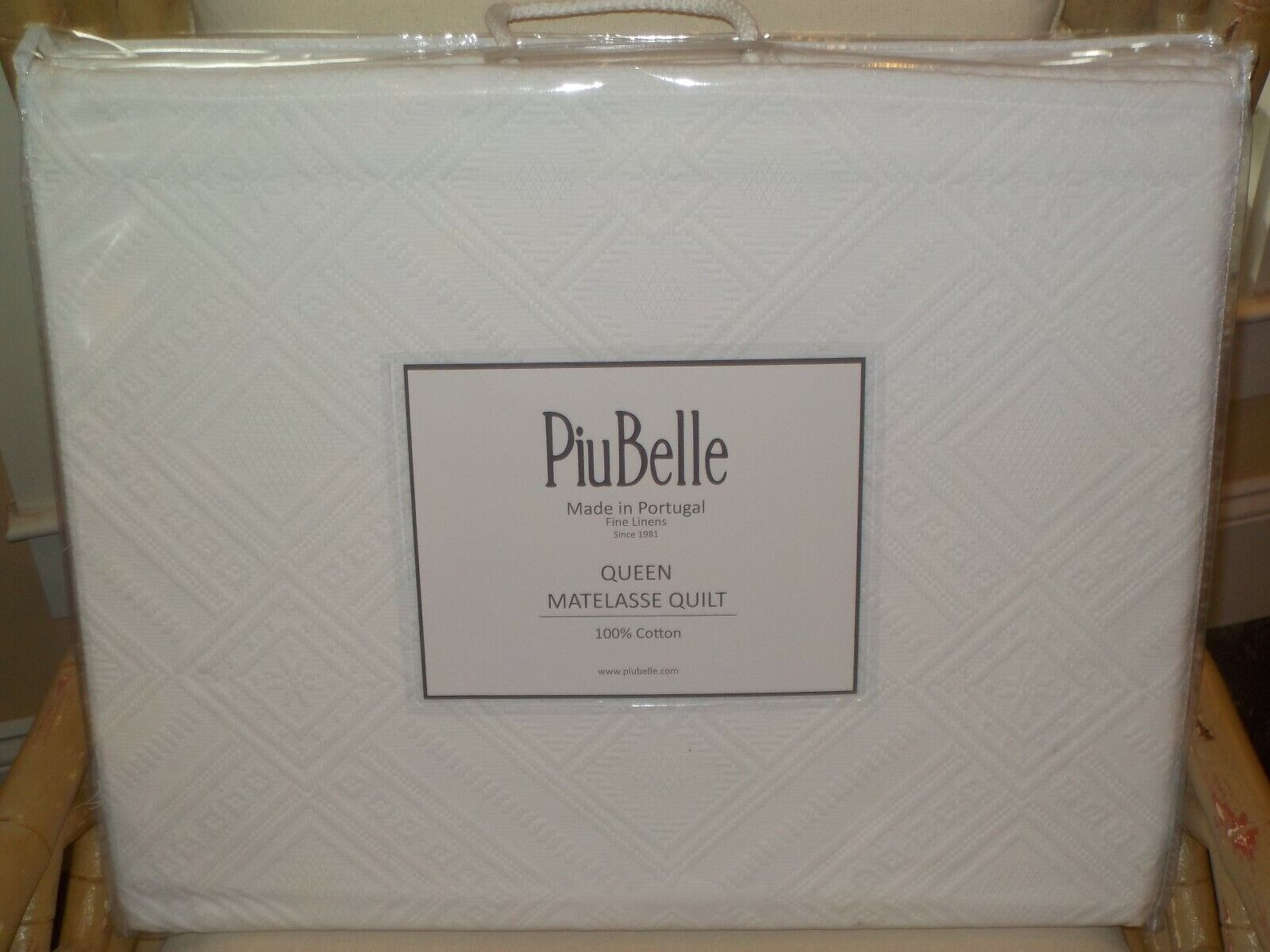 PIUBELLE WOVEN DIAMOND PATTERN 100% COTTON MATELASSE QUEEN QUILT