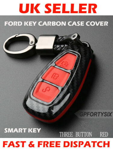 Carbon Fibre Red Ford Car Key Case Cover Shell Ford Fiesta Focus Mondeo Galaxy