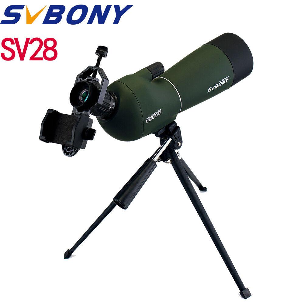 SV28 20-60x60mm 45 ° Ángulo Zoom BAK4 telescopios + Adaptador + Trípode observación de aves